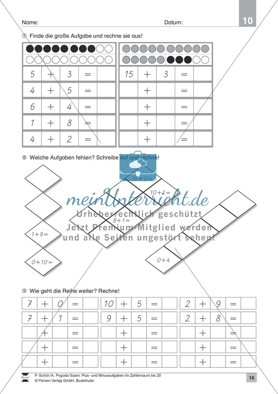Zahlenraum bis 20: Anschauliche Aufgaben zur Addition und Subtraktion mit Zehnerübergang Preview 15