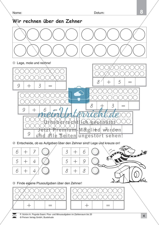 Zahlenraum bis 20: Anschauliche Aufgaben zur Addition und Subtraktion mit Zehnerübergang Preview 3