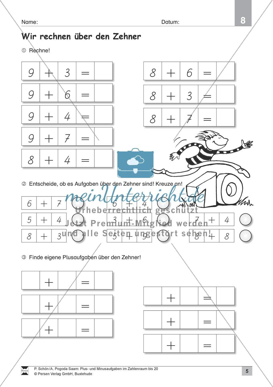 Zahlenraum bis 20: Anschauliche Aufgaben zur Addition und Subtraktion mit Zehnerübergang Preview 4