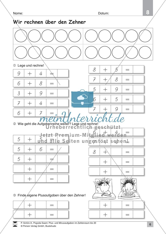 Zahlenraum bis 20: Anschauliche Aufgaben zur Addition und Subtraktion mit Zehnerübergang Preview 5