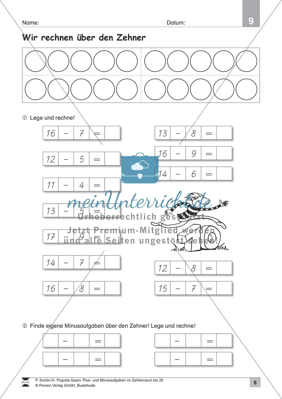 Zahlenraum bis 20: Anschauliche Aufgaben zur Addition und Subtraktion mit Zehnerübergang Preview 7
