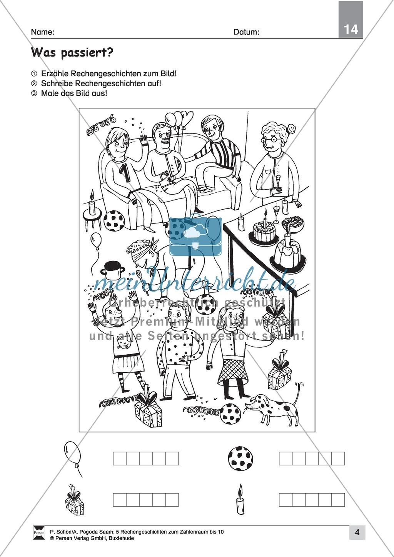 Fünf einfache Rechengeschichten zum Rechnen und Verstehen im Zahlenraum bis 10 Preview 3