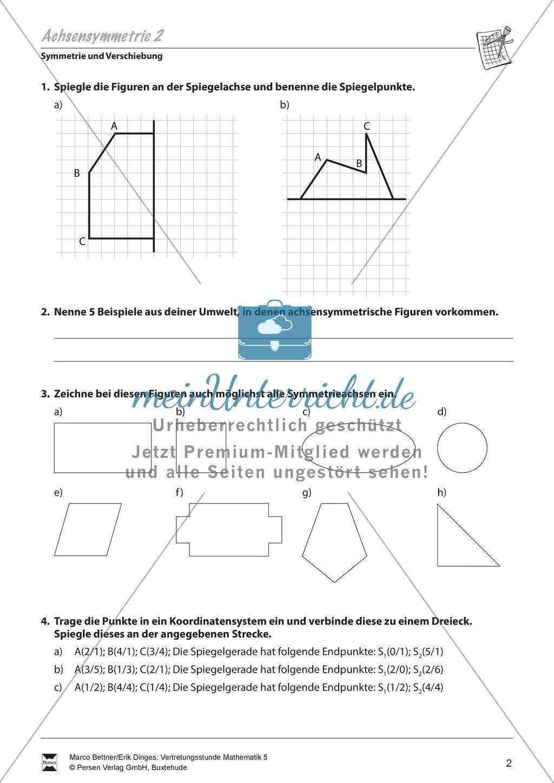symmetrie und verschiebung aufgaben zur wiederholung und festigung der achsensymmetrie. Black Bedroom Furniture Sets. Home Design Ideas