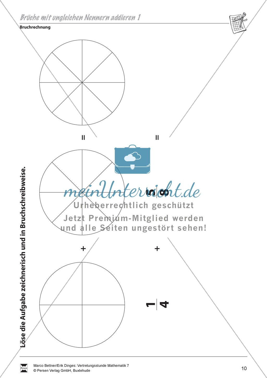 bruchrechnung br che mit ungleichen nennern addieren. Black Bedroom Furniture Sets. Home Design Ideas