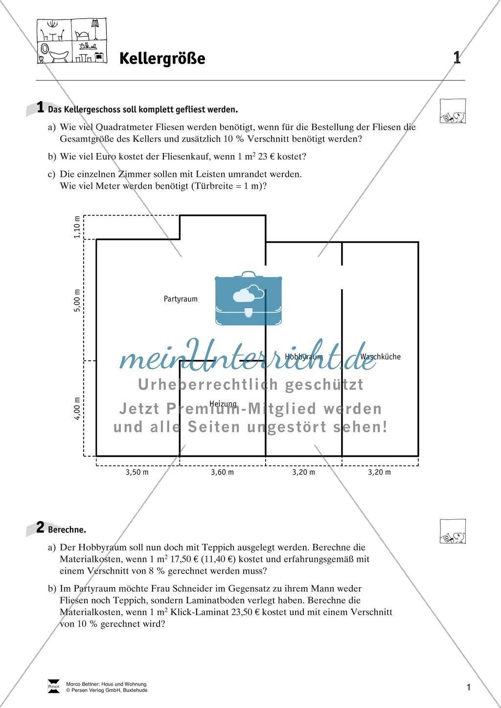 mathematsche alltagskompetenz die wohnung vermessen meinunterricht. Black Bedroom Furniture Sets. Home Design Ideas