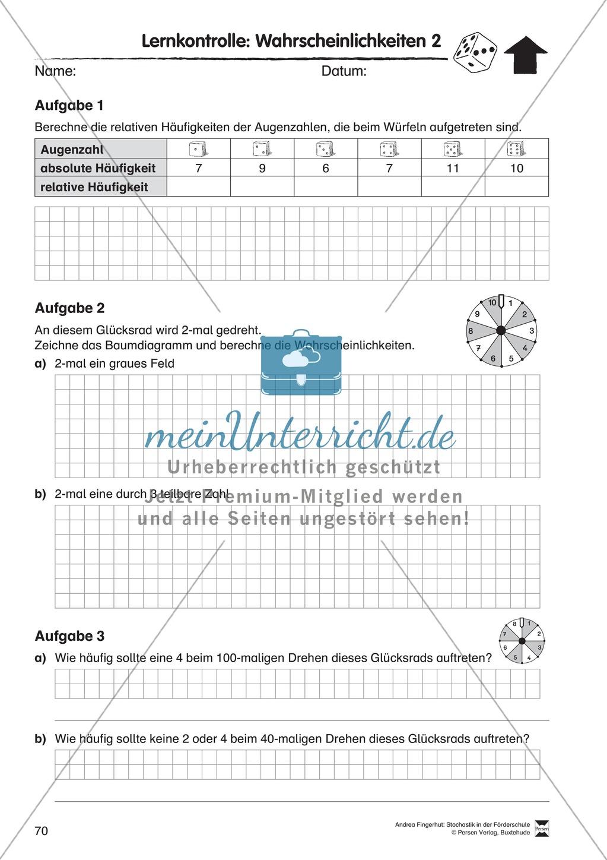 Förderschule Stochastik - Lernzielkontrolle zur Wahrscheinlichkeit ...