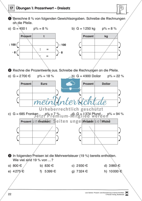 Arithmetik: Infoblatt und Übungen zum Dreisatz zur Prozentrechnung ...