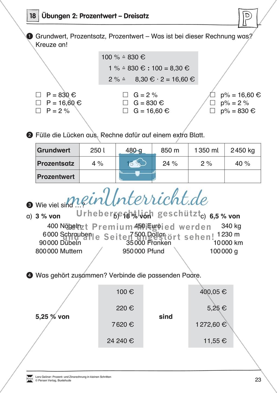 arithmetik infoblatt und bungen zum dreisatz zur prozentrechnung meinunterricht. Black Bedroom Furniture Sets. Home Design Ideas