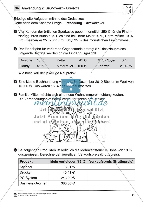 Arithmetik: Infoblatt und Übungen zur Berechnung von Grundwerten mit ...