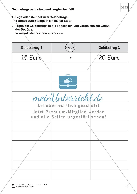 Größenvorstellungen entwickeln - Übungsaufgaben mit der Maßeinheit Geld Preview 15