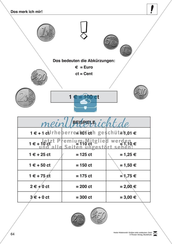 Größenvorstellungen entwickeln - Übungsaufgaben mit der Maßeinheit Geld Preview 50