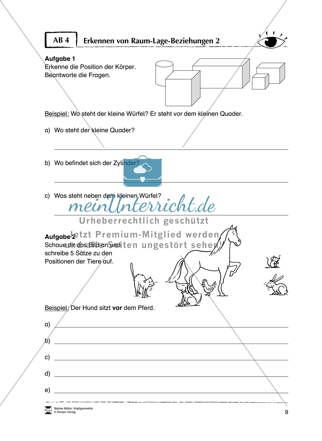 Arbeitsblätter zur Schulung des räumlichen Vorstellungsvermögens Preview 4