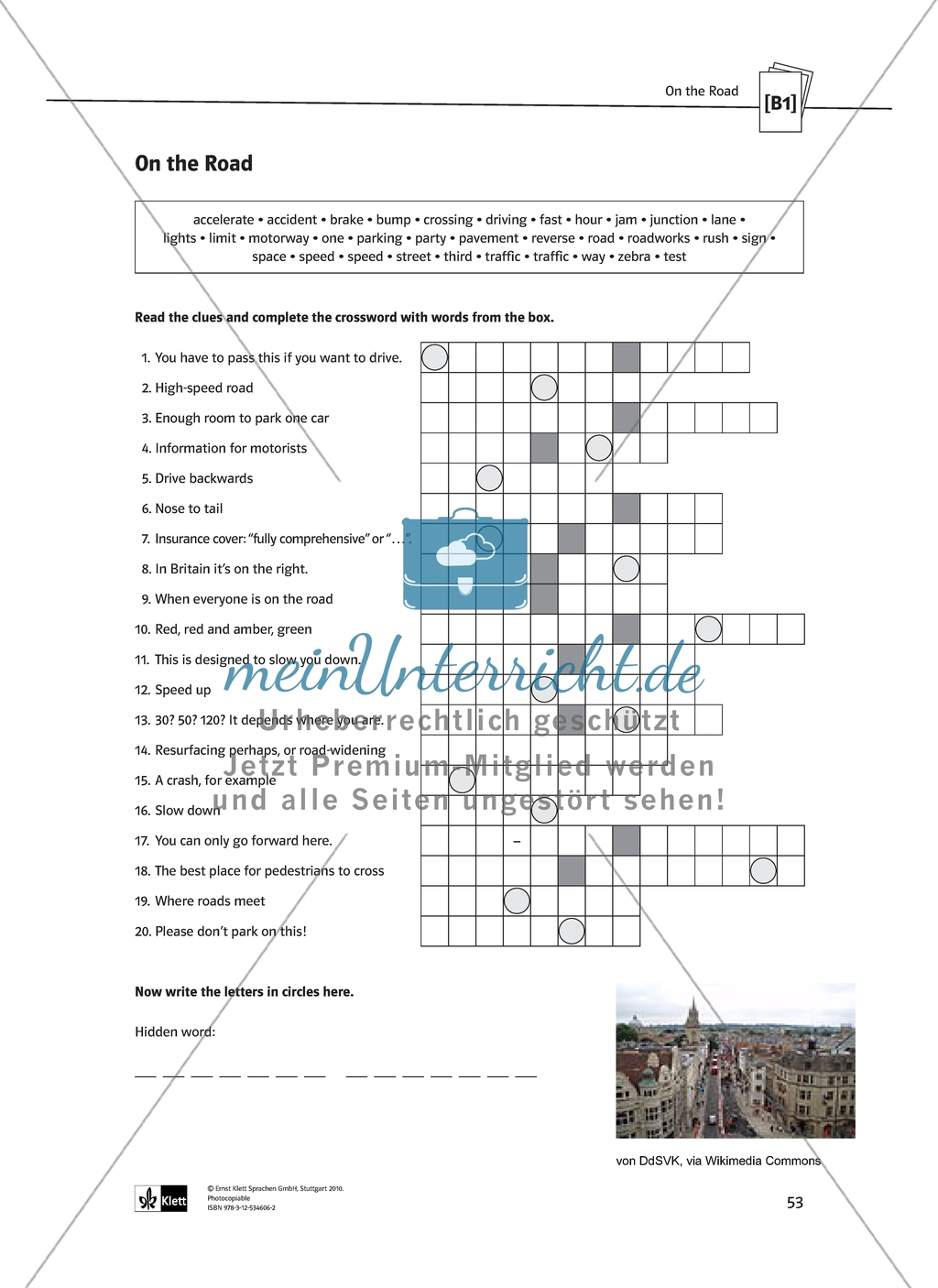 On the Road: crossword exercise to practice vocabulary about road traffic and driving. With solution Preview 1