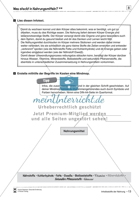 Arbeitsblätter zum Thema Nährstoffe - meinUnterricht