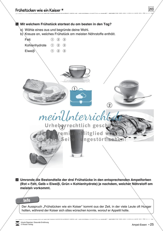 Arbeitsblätter zum Thema gesunde Mahlzeiten Preview 1