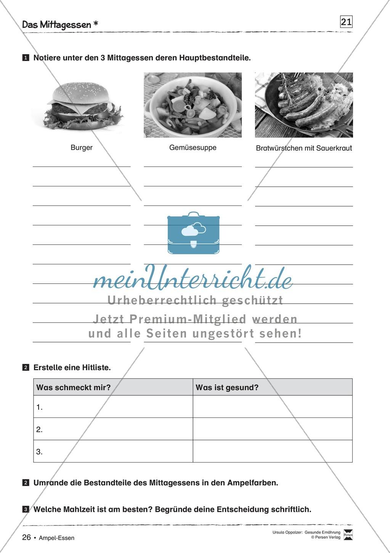 Arbeitsblätter zum Thema gesunde Mahlzeiten Preview 2