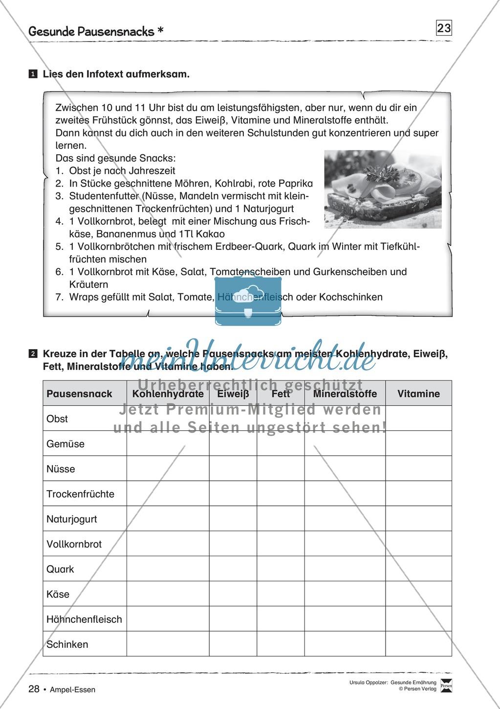 Arbeitsblätter zum Thema gesunde Mahlzeiten Preview 4