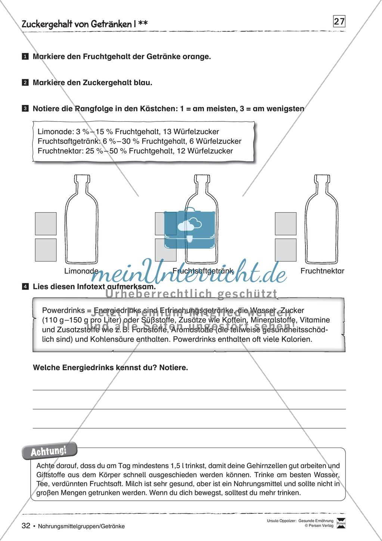 Arbeitsblätter zum Thema Zuckergehalt in Getränken Preview 0