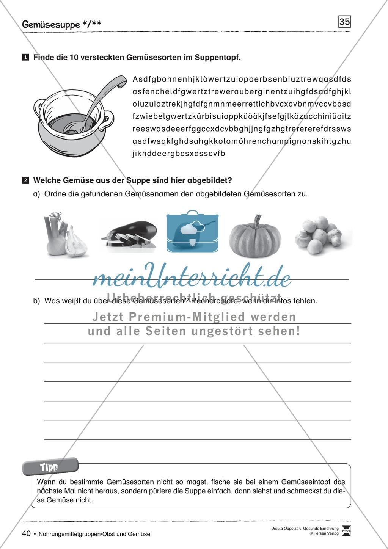 Obst und Gemüse - Arbeitsblätter Preview 5