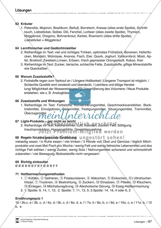 Arbeitsblätter zum Thema Zusatzstoffe - meinUnterricht