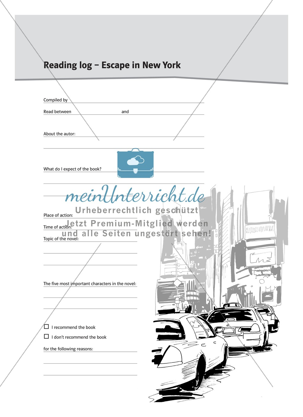 Reading log - Escape in New York: Cover page Preview 0