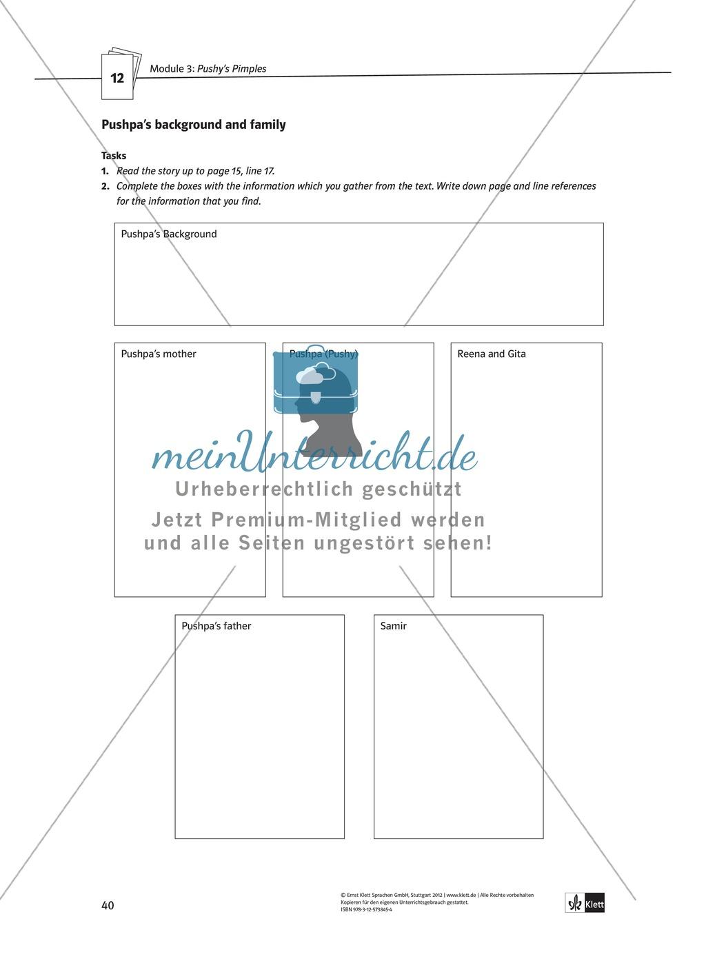 Pushy's Pimples: Zusammenfassung + Aufgaben + Arbeitsblätter Preview 13