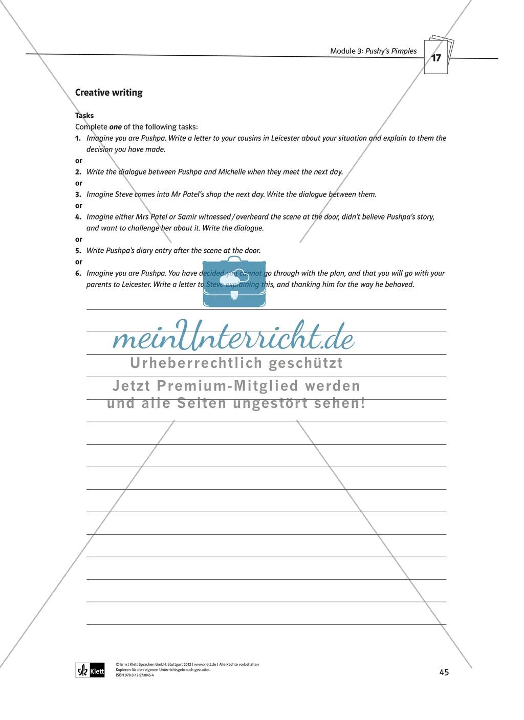 Pushy's Pimples: Zusammenfassung + Aufgaben + Arbeitsblätter Preview 18