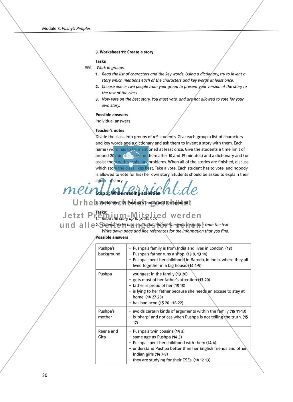 Pushy's Pimples: Zusammenfassung + Aufgaben + Arbeitsblätter Preview 3