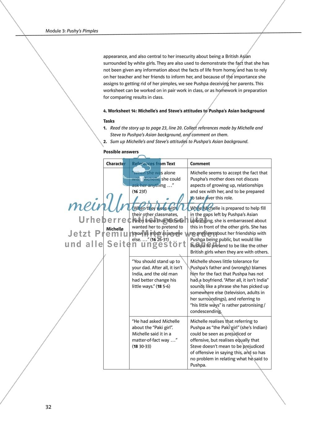 Pushy's Pimples: Zusammenfassung + Aufgaben + Arbeitsblätter Preview 5