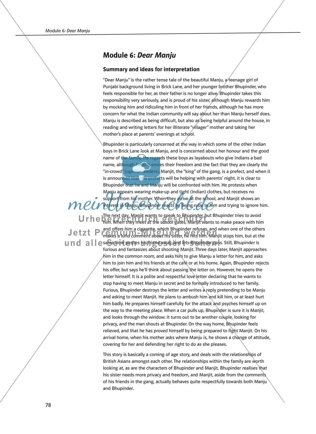Dear Manju: Zusammenfassung + Aufgaben + Arbeitsblätter Preview 0