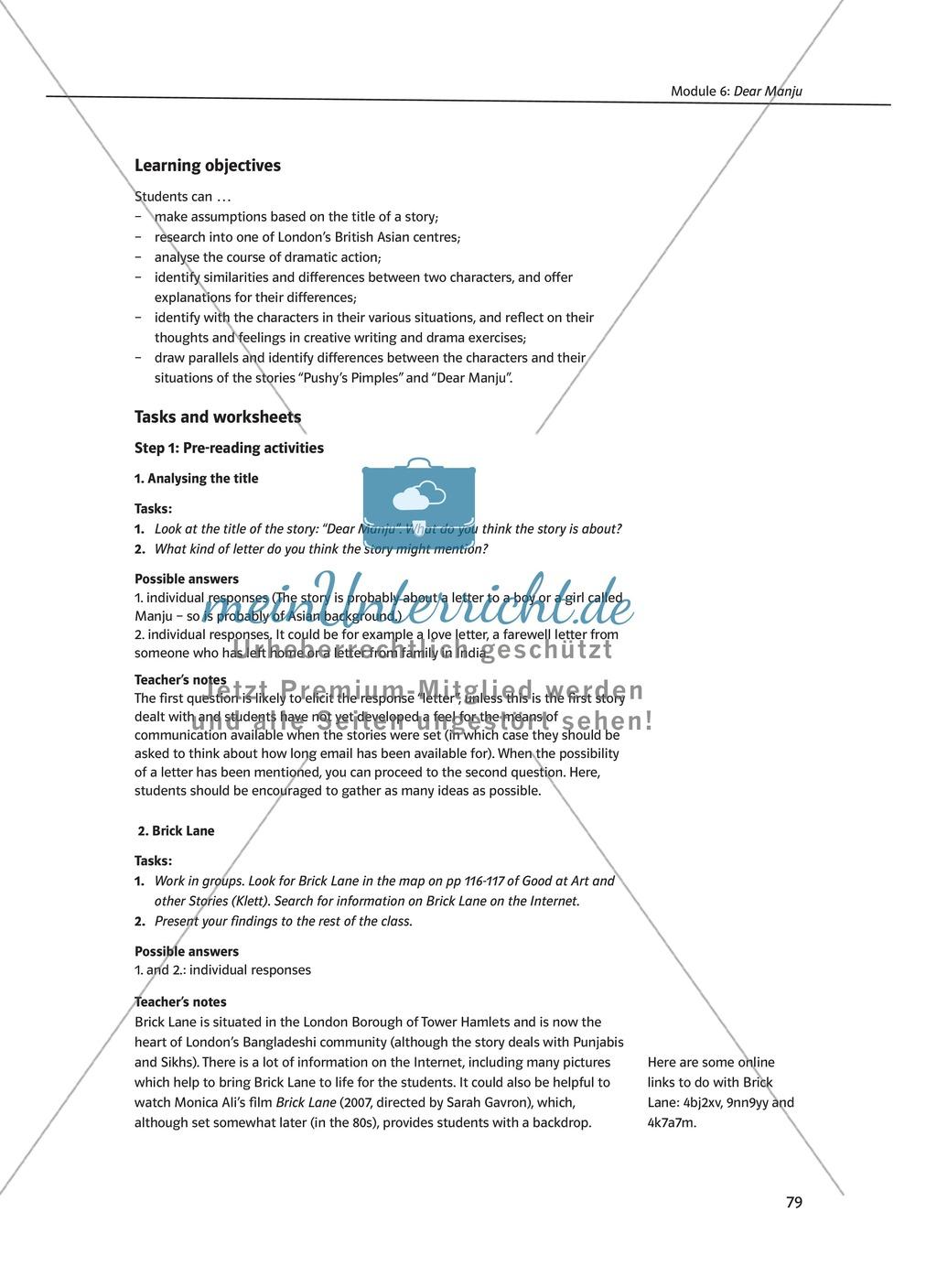 Dear Manju: Zusammenfassung + Aufgaben + Arbeitsblätter Preview 1