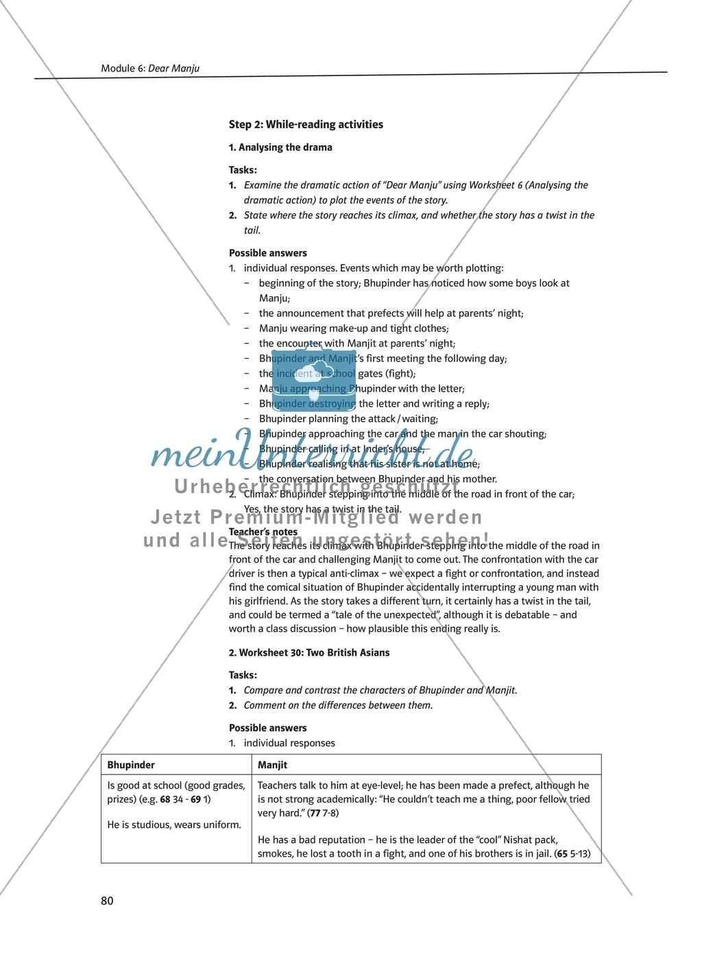 Dear Manju: Zusammenfassung + Aufgaben + Arbeitsblätter Preview 2