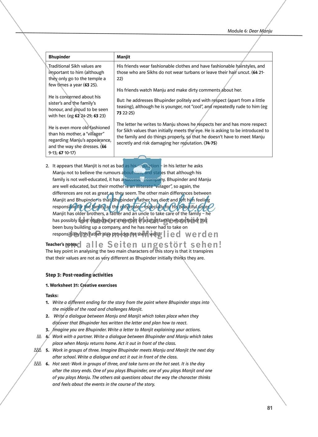 Dear Manju: Zusammenfassung + Aufgaben + Arbeitsblätter Preview 3