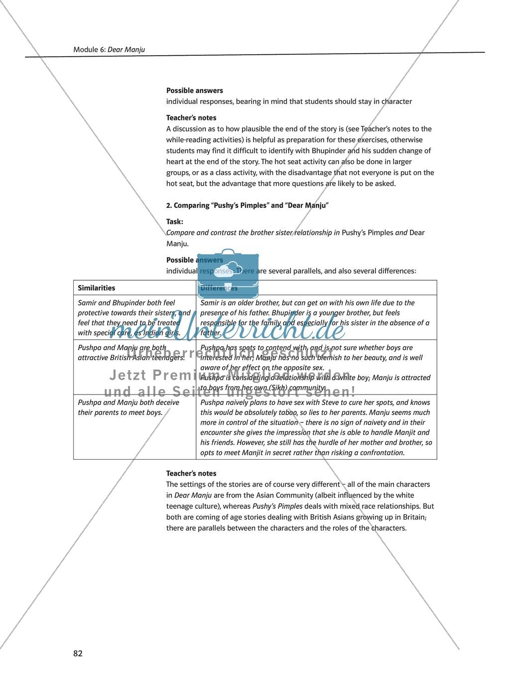 Dear Manju: Zusammenfassung + Aufgaben + Arbeitsblätter Preview 4