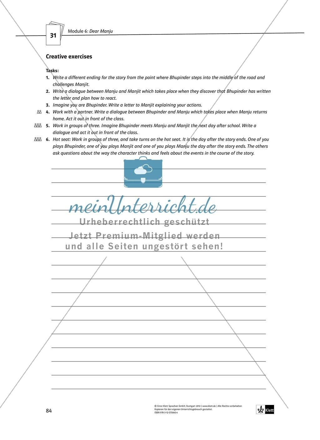 Dear Manju: Zusammenfassung + Aufgaben + Arbeitsblätter Preview 6
