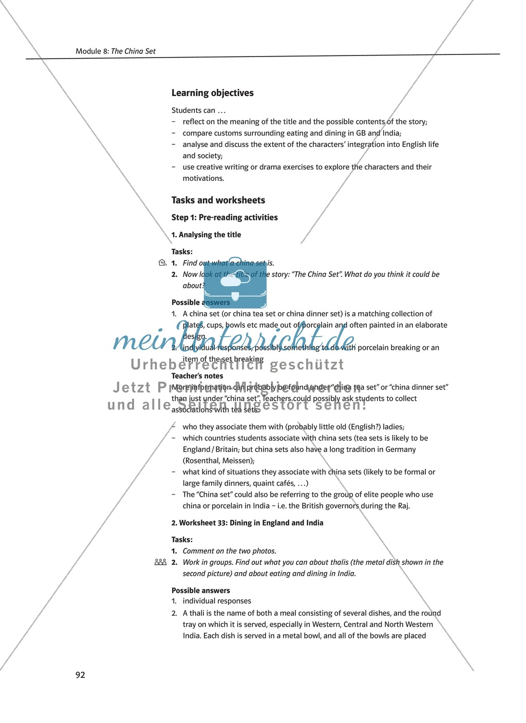 The China Set: Zusammenfassung + Aufgaben + Arbeitsblätter Preview 1
