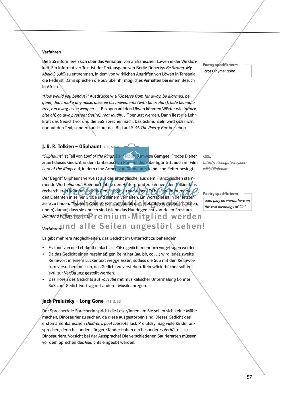 The Poetry Box: Wild Things? Beispiele + Lernziele + Verfahren + Arbeitsblätter Preview 7