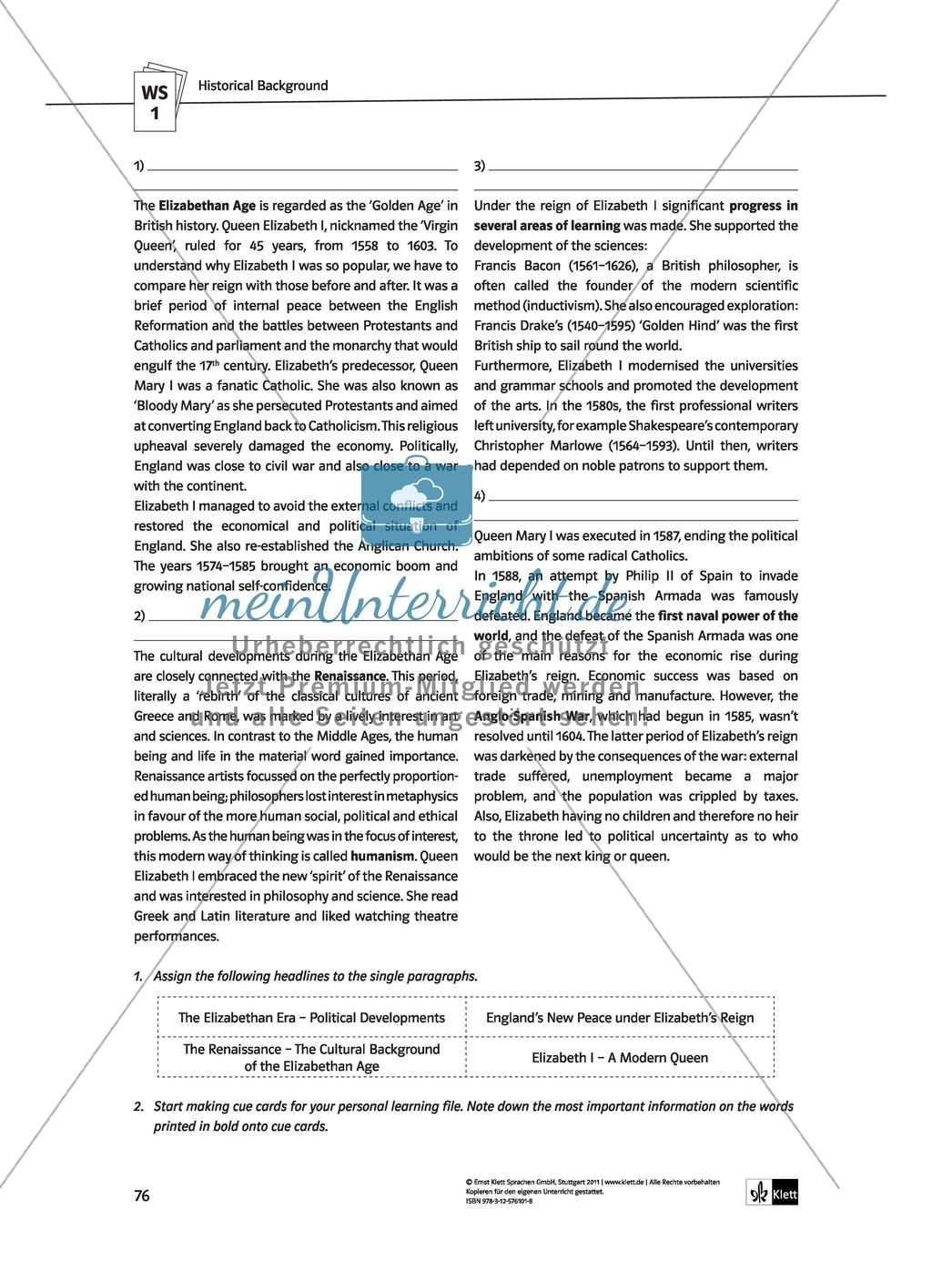Shakespeare's World - the Elizabethan Age: Themen + Lernziele + Arbeitsblätter + Lösungen Preview 16