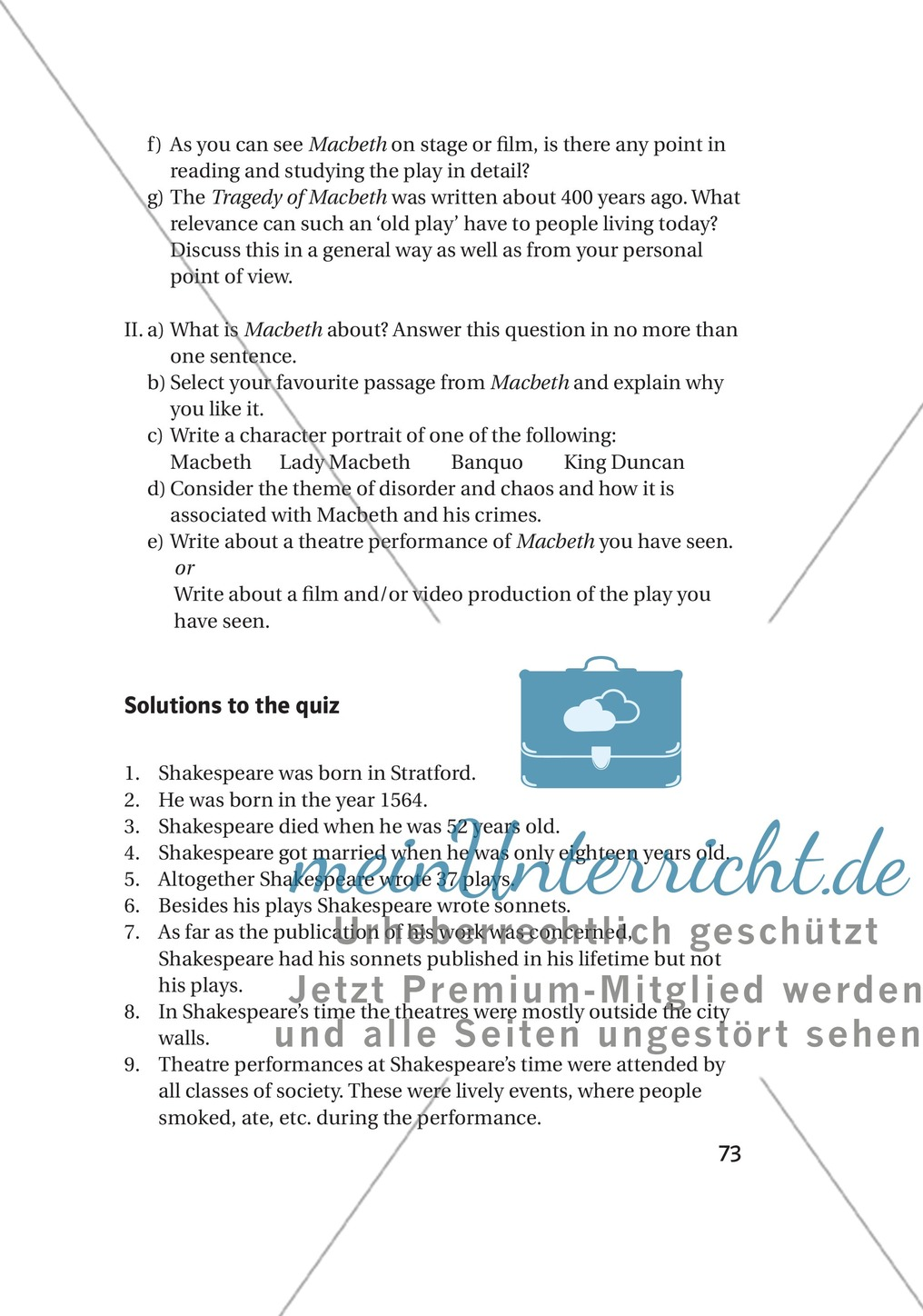 Additional Material: Unterrichtsmaterialien zu William Shakespeare Preview 10