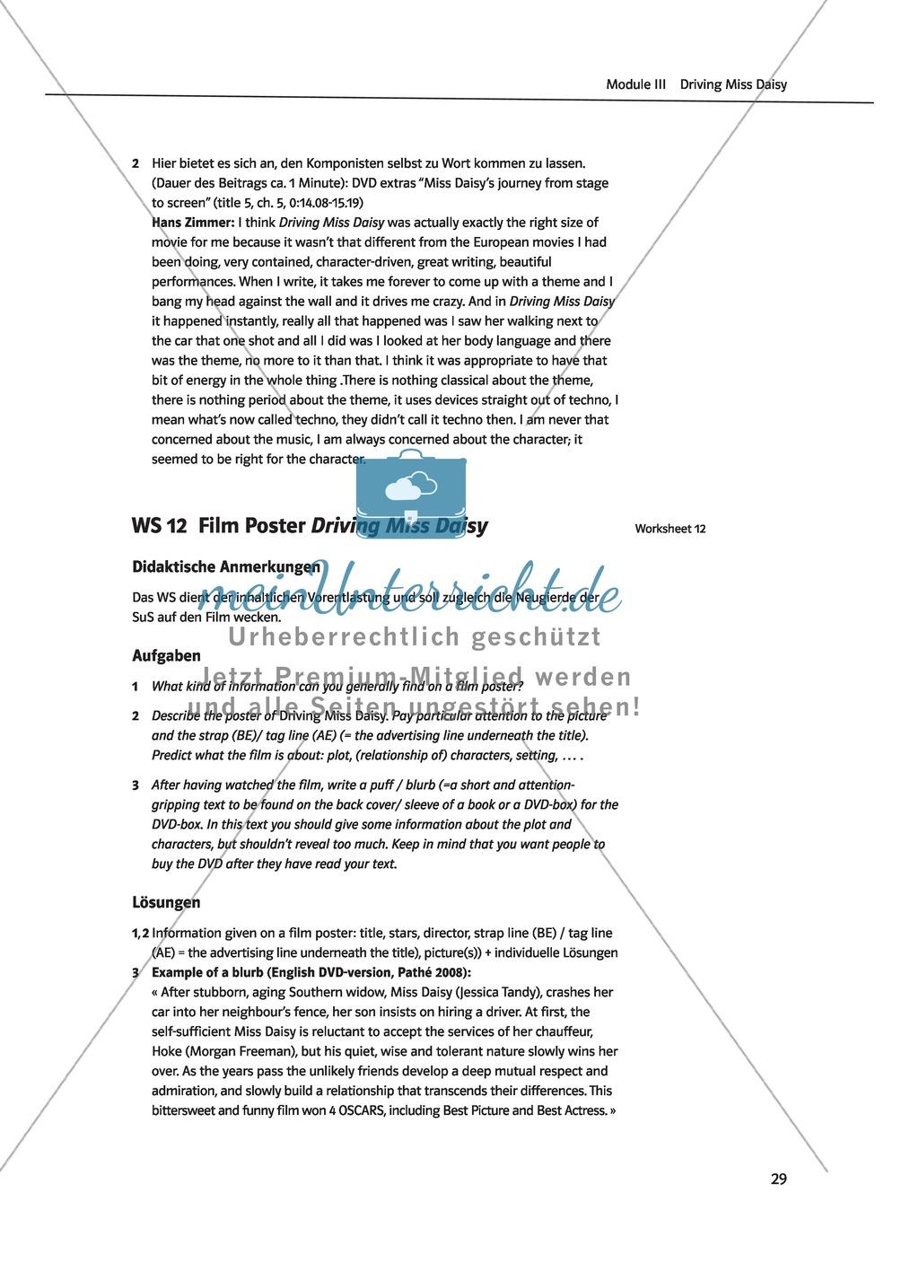 Driving Miss Daisy: Lernziele + Inhalt + Arbeitsblätter + Klausur + Lösungen Preview 11
