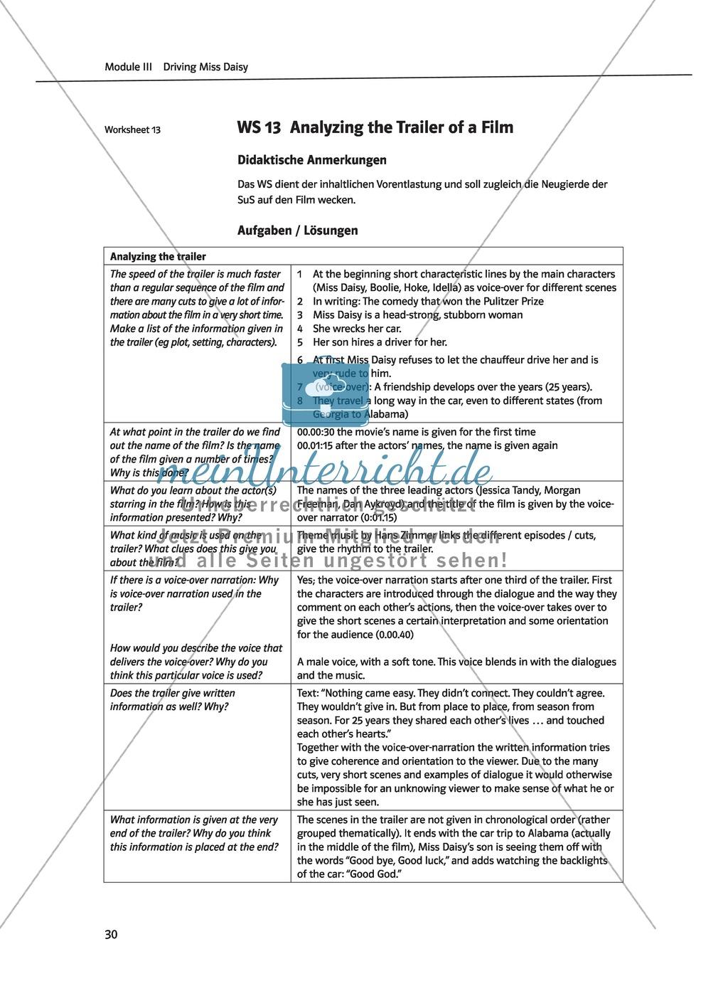 Driving Miss Daisy: Lernziele + Inhalt + Arbeitsblätter + Klausur + Lösungen Preview 12