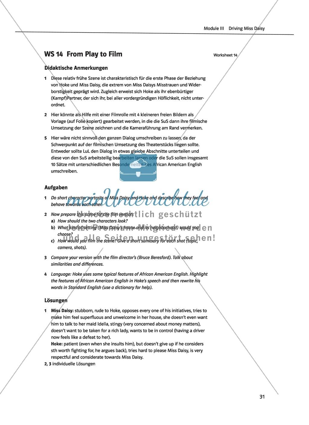 Driving Miss Daisy: Lernziele + Inhalt + Arbeitsblätter + Klausur + Lösungen Preview 13