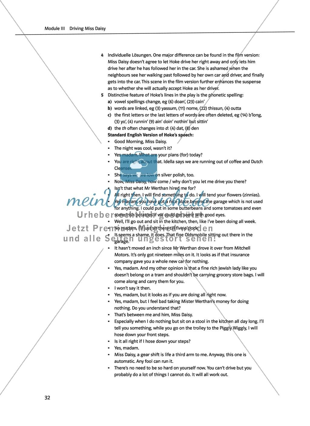 Driving Miss Daisy: Lernziele + Inhalt + Arbeitsblätter + Klausur + Lösungen Preview 14