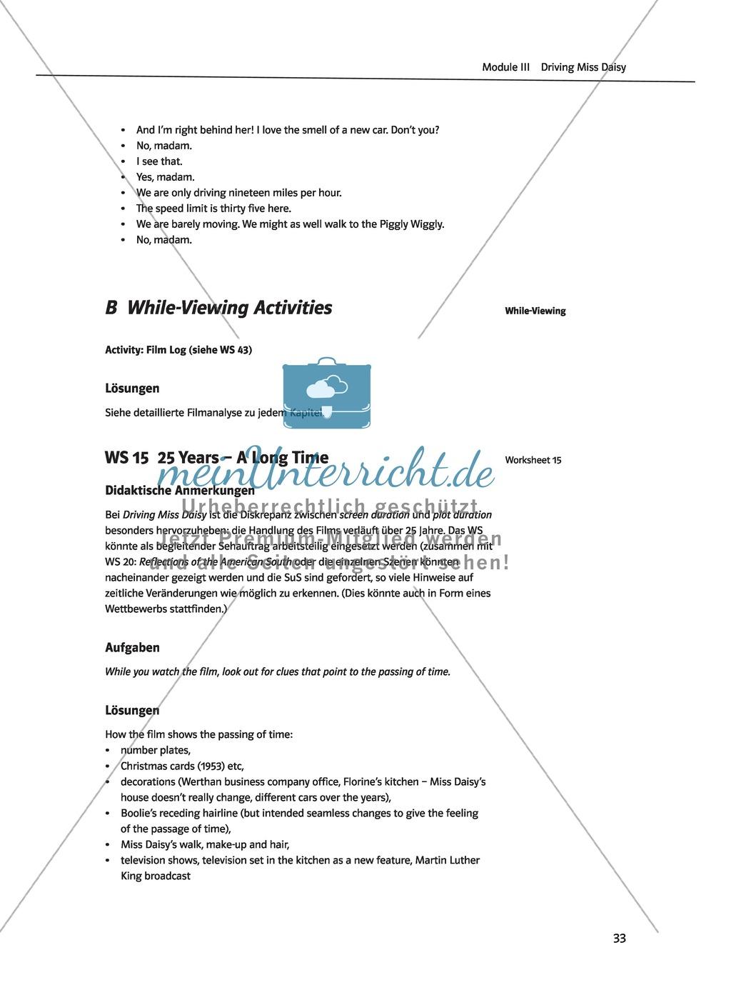 Driving Miss Daisy: Lernziele + Inhalt + Arbeitsblätter + Klausur + Lösungen Preview 15