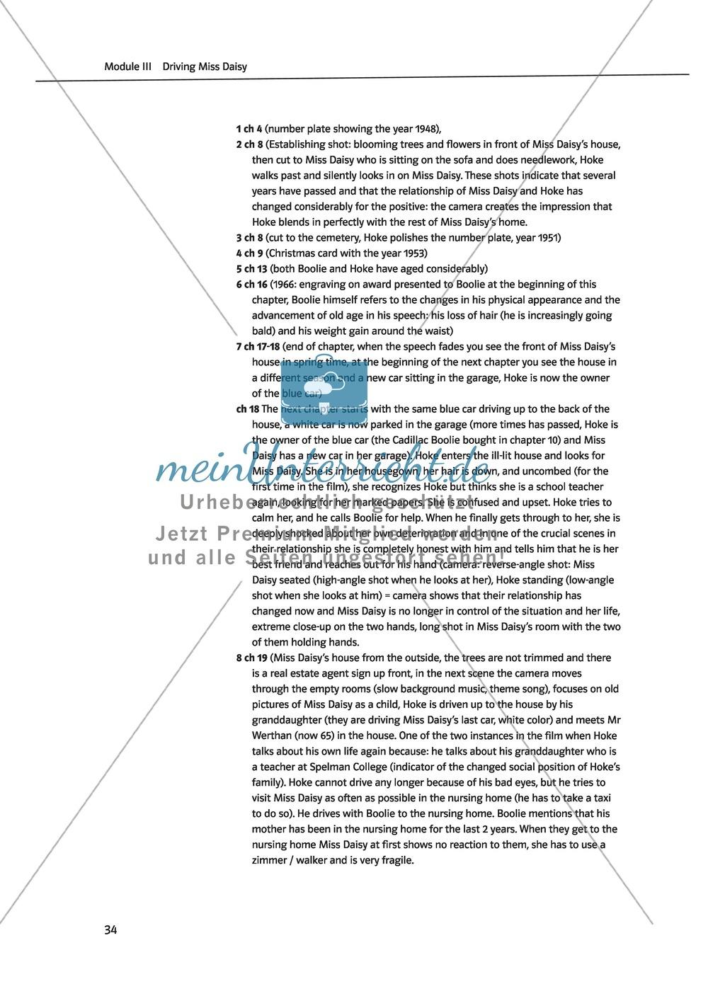 Driving Miss Daisy: Lernziele + Inhalt + Arbeitsblätter + Klausur + Lösungen Preview 16