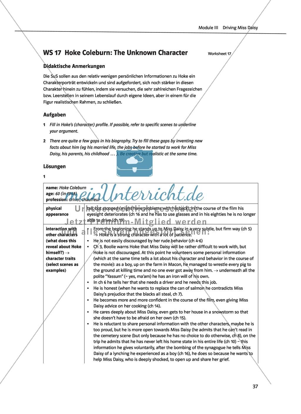 Driving Miss Daisy: Lernziele + Inhalt + Arbeitsblätter + Klausur + Lösungen Preview 19