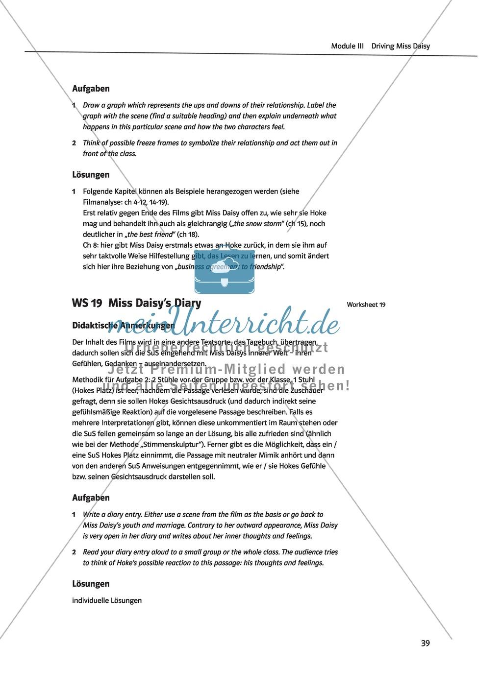 Driving Miss Daisy: Lernziele + Inhalt + Arbeitsblätter + Klausur + Lösungen Preview 21