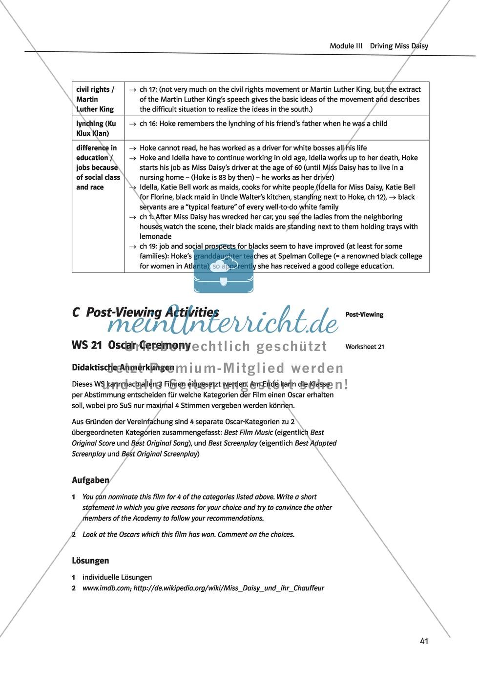 Driving Miss Daisy: Lernziele + Inhalt + Arbeitsblätter + Klausur + Lösungen Preview 23
