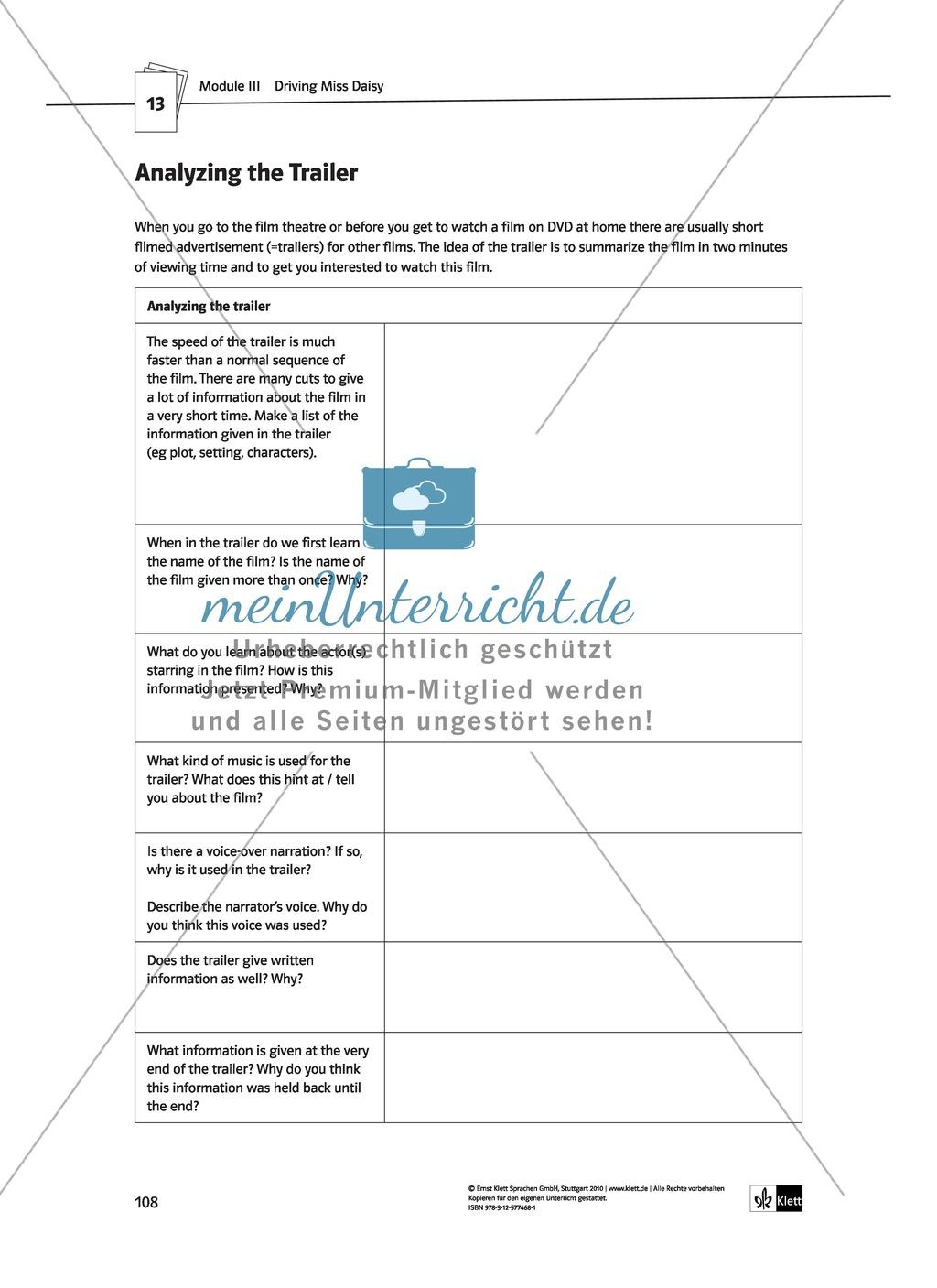 Driving Miss Daisy: Lernziele + Inhalt + Arbeitsblätter + Klausur + Lösungen Preview 28