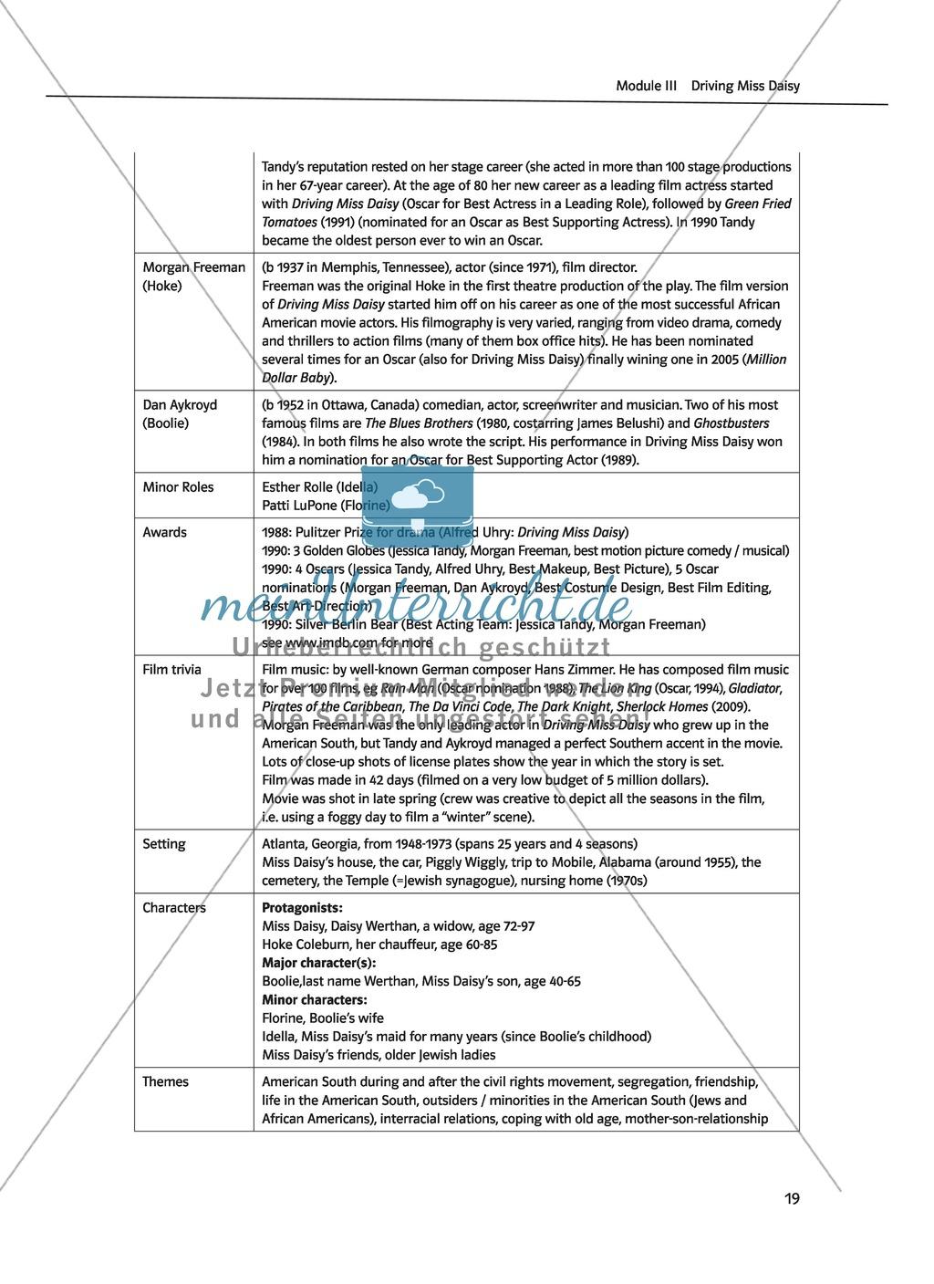 Driving Miss Daisy: Lernziele + Inhalt + Arbeitsblätter + Klausur + ...